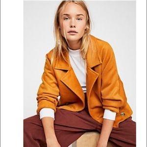 FP: Bella Dolman Wool Coat in Mustard S EUC